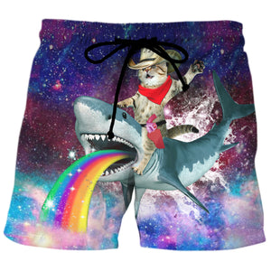 Cowboy Cat Riding A Rainbow Puking Shark - Custom Swim Trunks