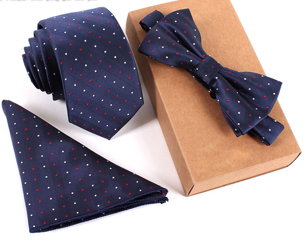 3 piece Necktie/ Bow tie / set for Men - my-haha-gifts