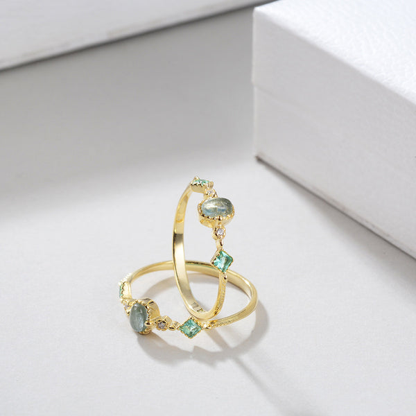 Japanese style 18k gold plated Natural Aquamarine ring