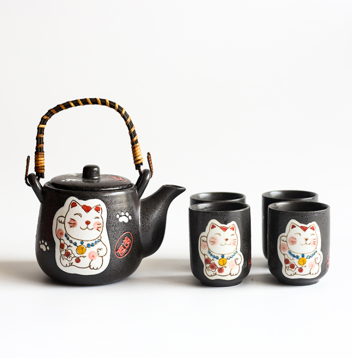 Hand-Painted Fortune Cat Ceramic Teapot set - my-haha-gifts