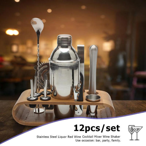 12pcs/set 550ML S/S Bar Cocktail Shaker Set on Wooden Rack - my-haha-gifts