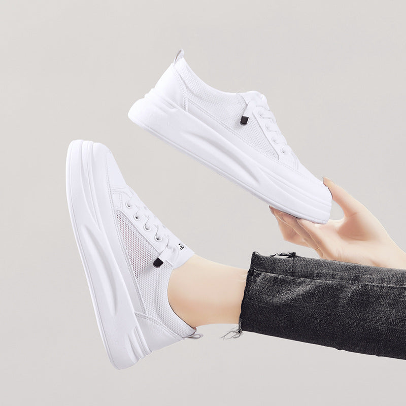 Ladies Netted PU Leather Sneakers