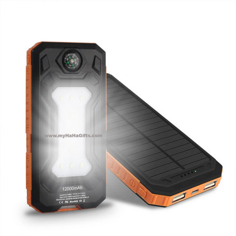 Solar 10000mAh ABS Casing Power Bank Built-in Compass & Camping Light