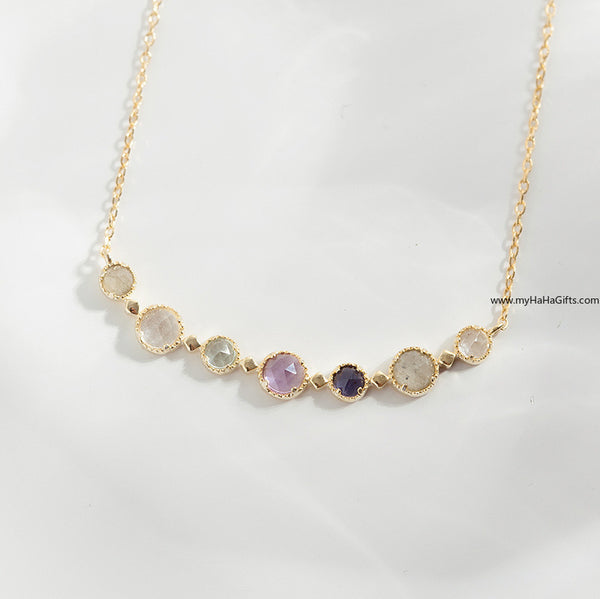 Japanese style 18k gold plated necklace with Natural stone