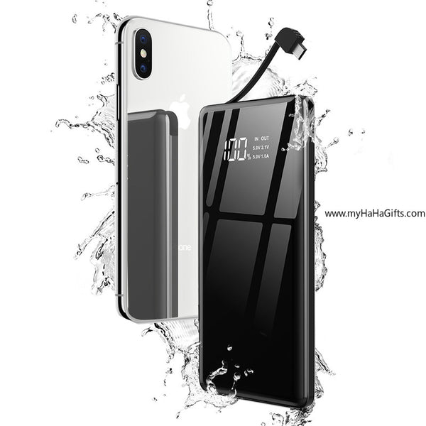 Glossy Black Mirror 10000mAh Powerbank with Built-in Charging Cable (Android & Apple) - my-haha-gifts