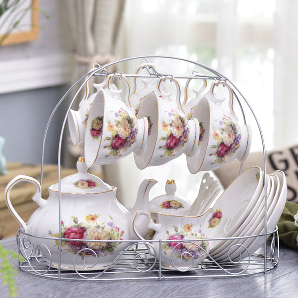 Exquisite Floral Teapot 10pc Set - my-haha-gifts