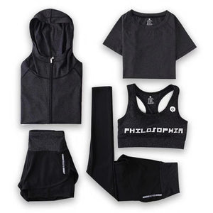 Ladies Quick Drying 5 piece Fitness Suit - FN-TZ000192