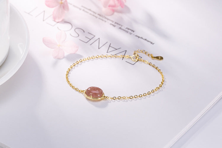 Japanese style 18k gold plated Natural Strawberry Quartz Bracelet
