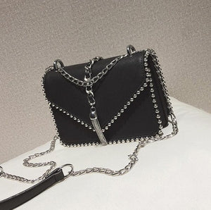 PU leather Rivet Tassel Chain Shoulder bags - my-haha-gifts