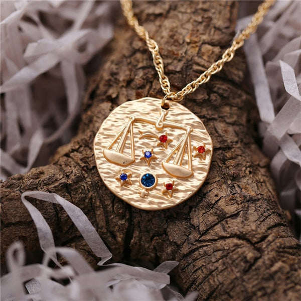 Personalized Birthstone Zodiac Necklace - my-haha-gifts