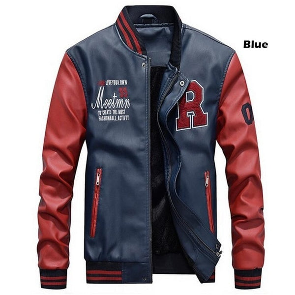 Baseball Jacket Embroidered Leather - my-haha-gifts