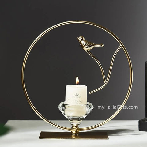 Nordic Style Wrought Iron Bird Candle Holder (style A) - my-haha-gifts