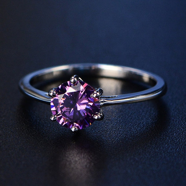 925 Sterling Silver Women's Amethyst Gemstone Ring - my-haha-gifts