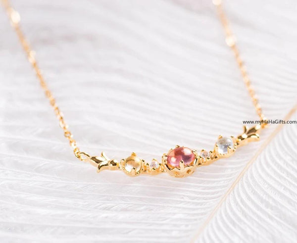 Japanese style 18k gold plated Natural stone Necklace
