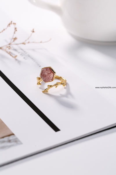 Japanese style 18k gold plated Natural Strawberry Quartz Ring