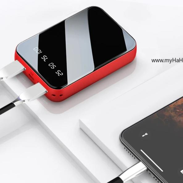 Glossy Black Mirror 20000mAh Powerbank with Dual Charge 2.1A Dual LED Torchlight - my-haha-gifts