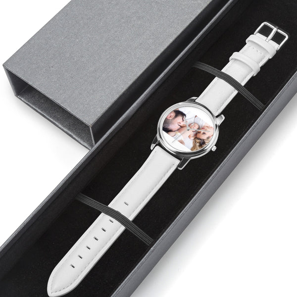 Large Genuine Leather Strap Water-Resistant Quartz Watch (Silver) - my-haha-gifts