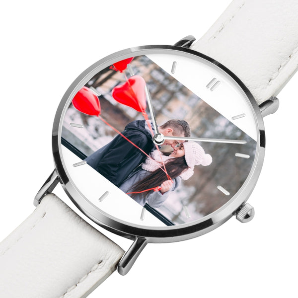Genuine Leather Strap Water-Resistant Quartz Watch (Silver with Indicator) - my-haha-gifts