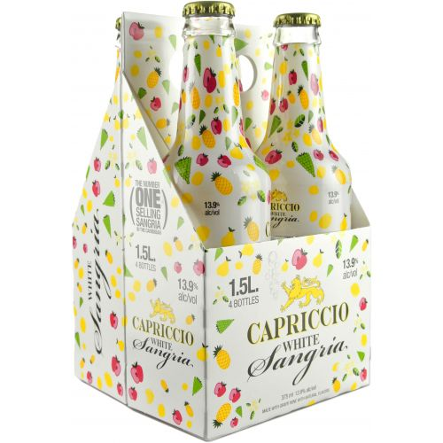 Capriccio Bubbly White Sangria 4 pack of 375mL bottles (total 1.5L) Type: Champagne & Sparkling Categories: 1.5L, 4-pack of 375mL, Sangria, size_1.5L, size_4-pack of 375mL, Sparkling Wine, subtype_Sangria, subtype_Sparkling Wine, subtype_White, White. Buy today at Wine and Liquor Mart Poughkeepsie