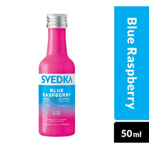 Svedka Blue Raspberry Mini 50 mL Type: Liquor Categories: 50mL, Flavored, quantity high enough for online, size_50mL, subtype_Flavored, subtype_Vodka, Vodka. Buy today at Wine and Liquor Mart Poughkeepsie
