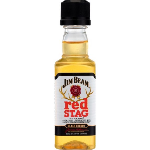 Jim Beam Red Stag Black Cherry Bourbon Whiskey 50ml Plastic Bottle Type: Liquor Categories: 50mL, Bourbon, Flavored, size_50mL, subtype_Bourbon, subtype_Flavored, subtype_Whiskey, Whiskey. Buy today at Wine and Liquor Mart Poughkeepsie