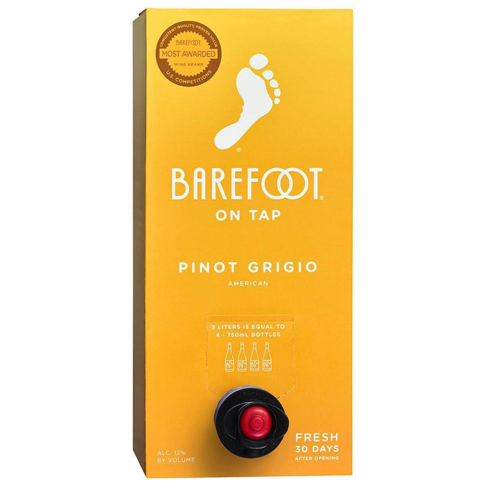 Barefoot Pinot Grigio - 3L Box Type: White Categories: 3L, California, Pinot Grigio, quantity high enough for online, region_California, size_3L, subtype_Pinot Grigio. Buy today at Wine and Liquor Mart Poughkeepsie