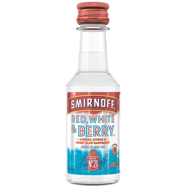 Smirnoff Red White and Berry Vodka - 50mL Bottle Type: Liquor Categories: 50mL, Flavored, quantity high enough for online, size_50mL, subtype_Flavored, subtype_Vodka, Vodka. Buy today at Wine and Liquor Mart Poughkeepsie