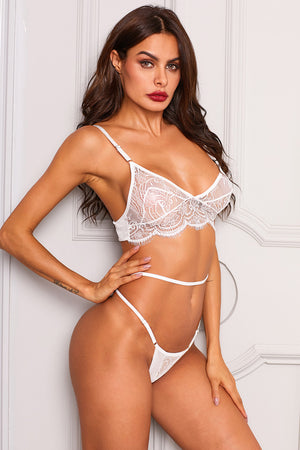 Sexy Crochet Lace G-String BH Set Dessous