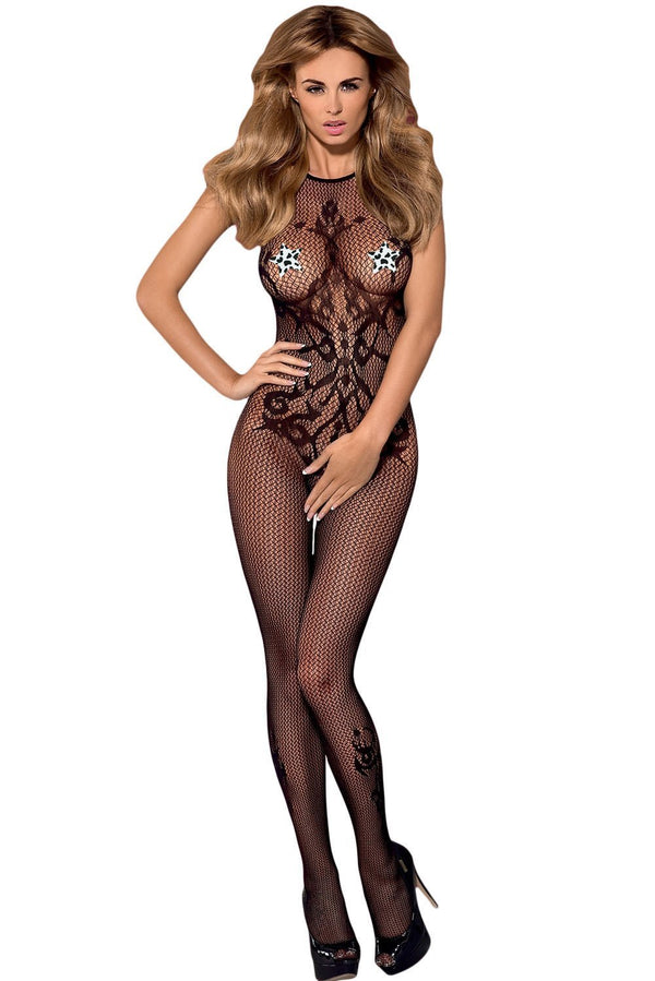 Seamless Opaque Tattoo Halter Neck Bodystocking