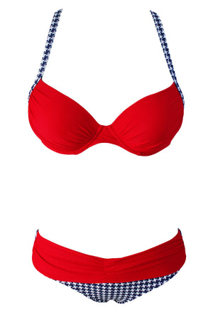 Sexy rotes gepolstertes Gather Push-Up Bikini Set