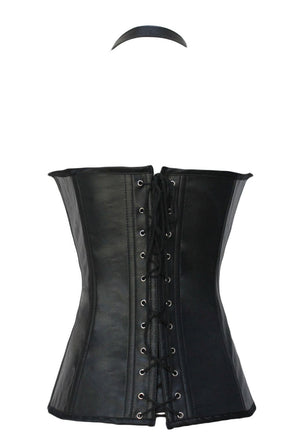 Schwarzes Buckle-up Steampunk Korsset
