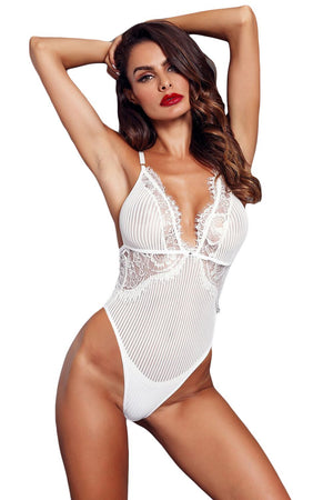 White Triangle Lace Bodysuit