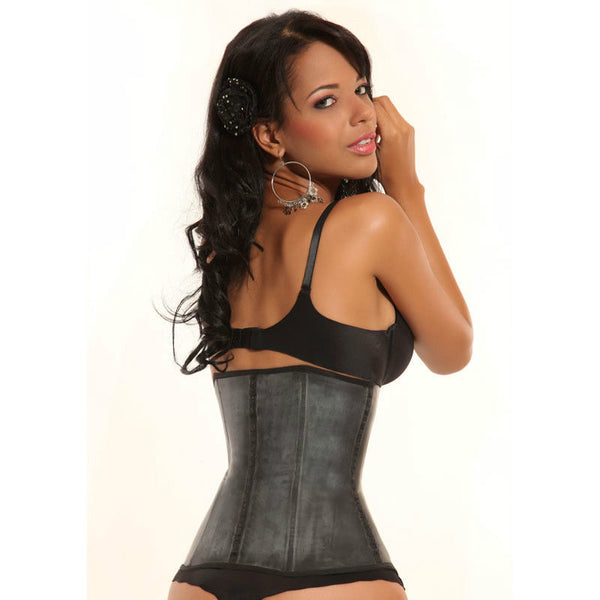 2 Row Ann Michell 2025 Black Waist Latex Trainer Cincher - No Straps