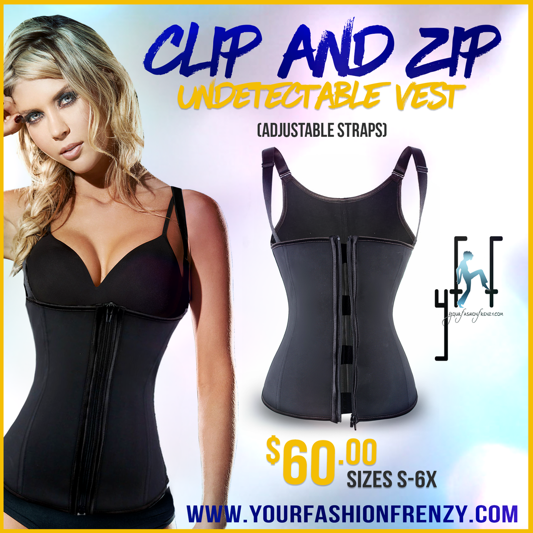 Clip and Zip Adjustable Vest 2028 Shapewear Undergarment (Waist & Full Back Coverage)