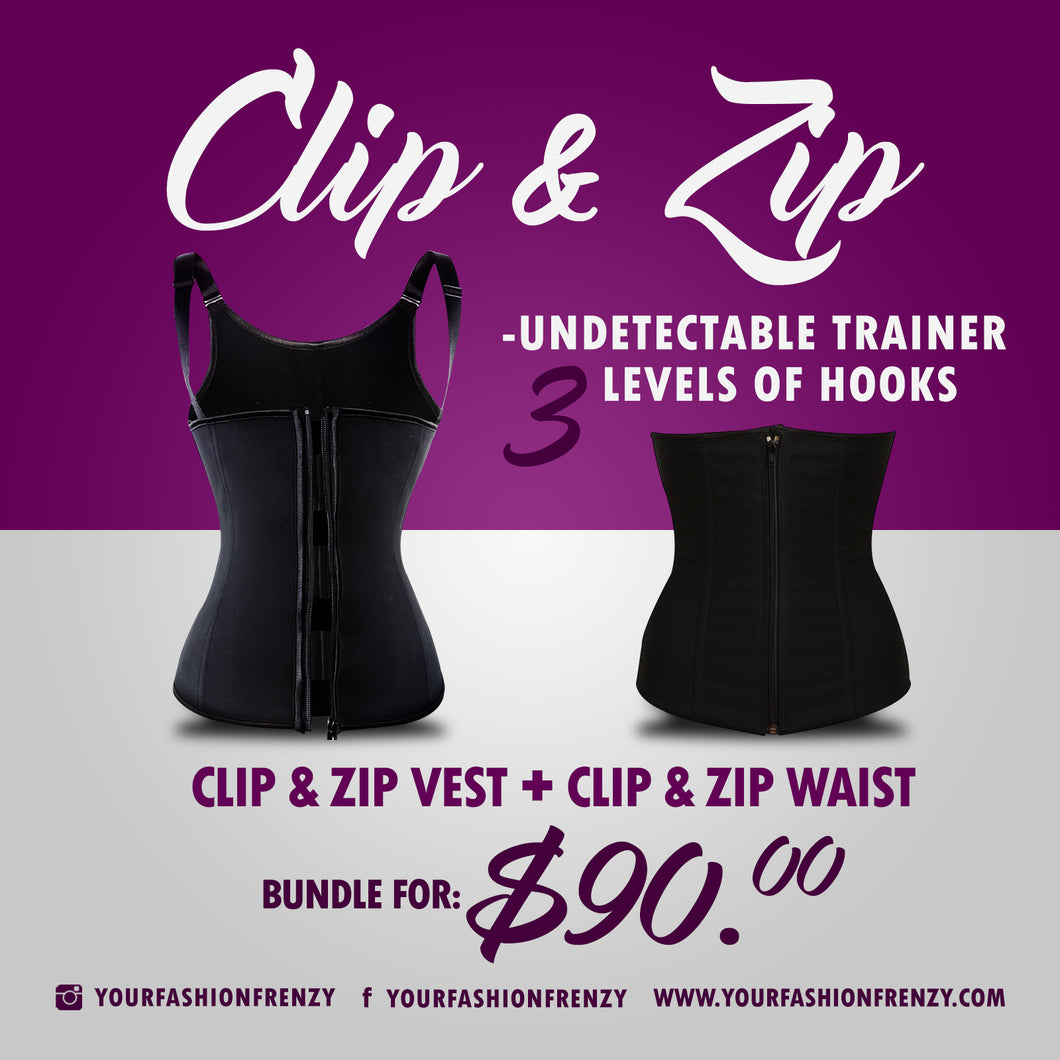 Clip and Zip Waist & Vest Shapewear Bundle