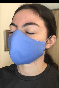 017 Sky Blue Handmade Protective Fashion Face Mask- 100% Sterilized- includes replacable filter