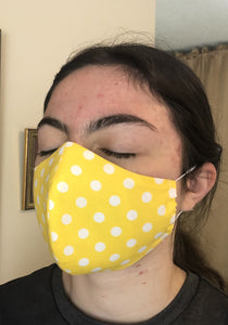 023 Yellow Polka Dot Handmade Protective Fashion Face Mask- 100% Sterilized- includes replacable filter