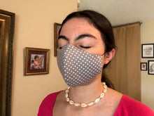 Load image into Gallery viewer, 029 Grey Polka Dot Handmade Protective Fashion Face Mask- 100% Sterilized- includes replacable filter