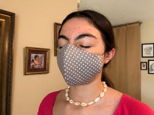 029 Grey Polka Dot Handmade Protective Fashion Face Mask- 100% Sterilized- includes replacable filter