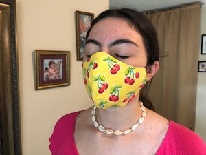 033 Cherry Handmade Protective Fashion Face Mask- 100% Sterilized- includes replacable filter