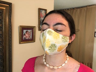 034 Lemon Lime Handmade Protective Fashion Face Mask- 100% Sterilized- includes replacable filter