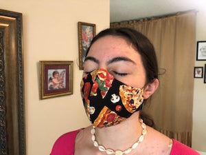 035 Pizza Handmade Protective Fashion Face Mask- 100% Sterilized- includes replacable filter
