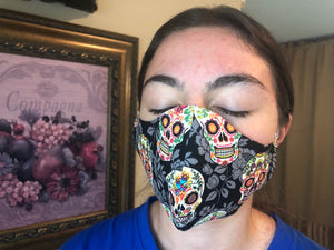062 Day of the Dead Handmade Protective Fashion Face Mask- 100% Sterilized- includes replacable filter