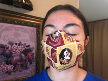 Load image into Gallery viewer, 064 Noles Handmade Protective Fashion Face Mask- 100% Sterilized- includes replacable filter