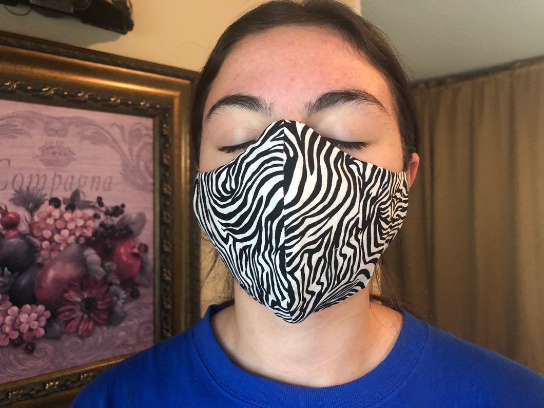 065 Zebra Handmade Protective Fashion Face Mask- 100% Sterilized- includes replacable filter