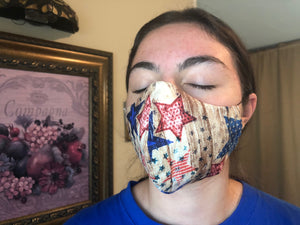 068 Stars and Stripes Handmade Protective Fashion Face Mask- 100% Sterilized- includes replacable filter