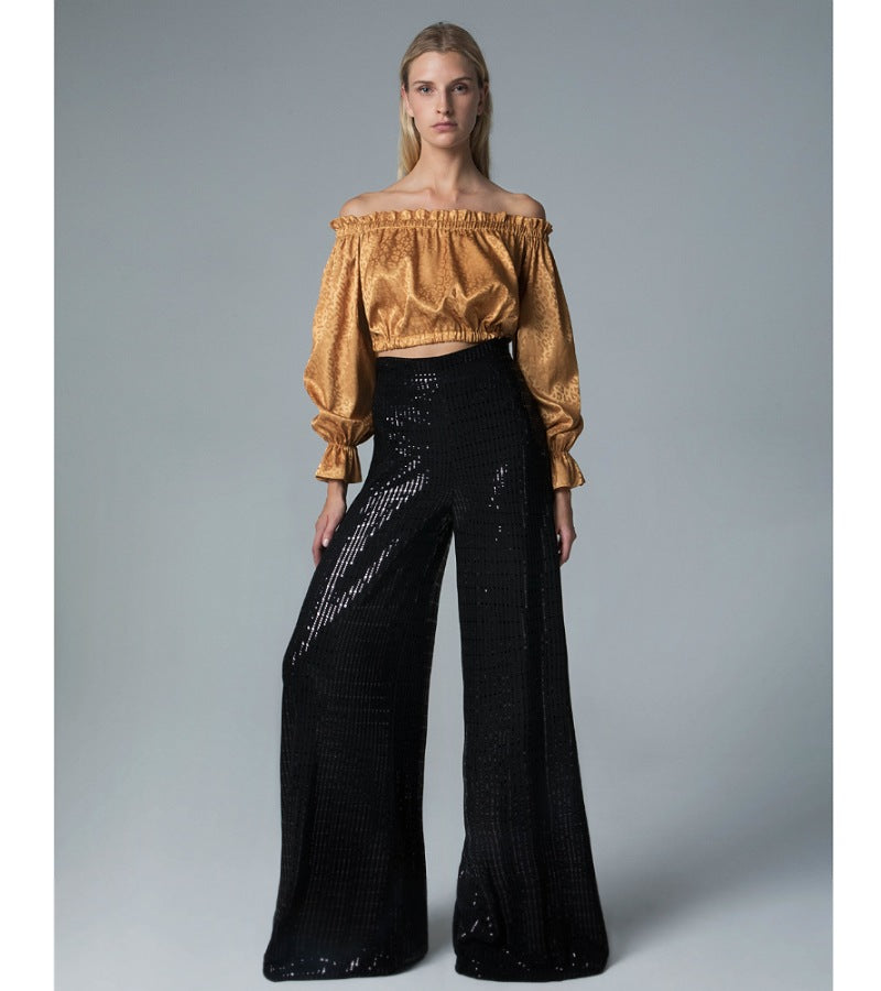 Trouser black sequined