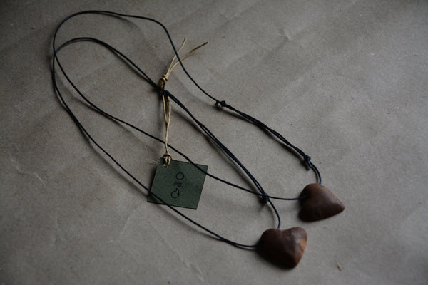 UPCYCLED Double Heart Necklace / Driftwood - Modern - Eco Friendly -  Fashion - Lifestyle / Minimal