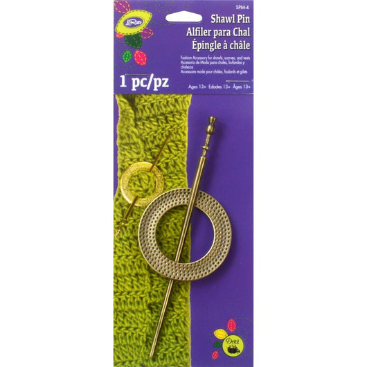 LoRan Textured Metal Shawl Pin W/Stick Pin Brass Round - aplusstorenz