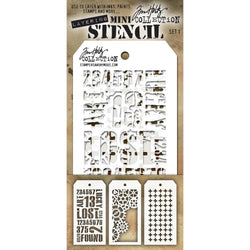 Tim Holtz Mini Layered Stencil Set 3/Pkg Set #1